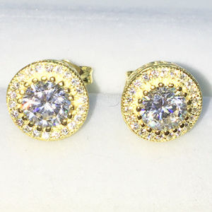 Gold Round shape Large white CZ Studs Earrings